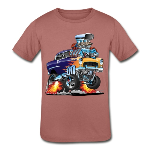Classic Fifties Hot Rod Muscle Car Cartoon - Kids' Tri-Blend T-Shirt