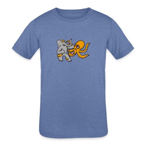 Elephant vs. Octopus T-Shirt - Kids' Tri-Blend T-Shirt