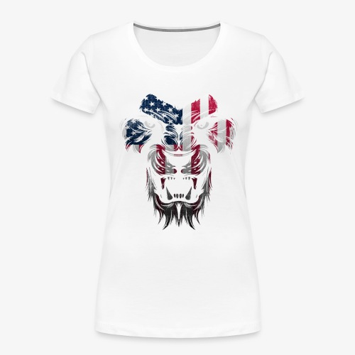 American Flag Lion Shirt - Women's Premium Organic T-Shirt