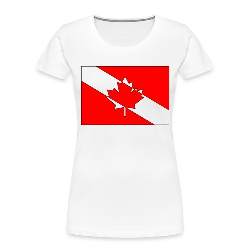 Canadian Diver Flag Red, White and Black Outline - Women's Premium Organic T-Shirt