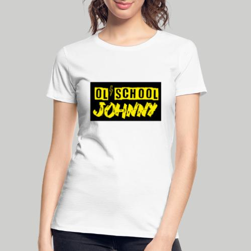 Ol' School Johnny Yellow Text on Black Square - Women's Premium Organic T-Shirt