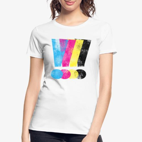 Large Distressed CMYW Exclamation Points - Women's Premium Organic T-Shirt