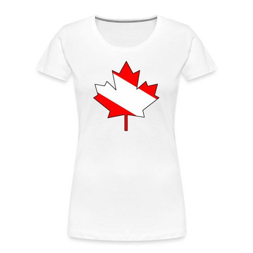 Maple Leaf with white infill and outline - Women's Premium Organic T-Shirt