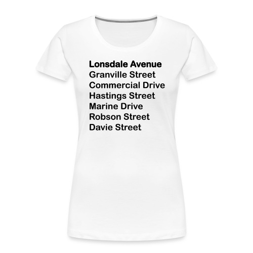 Street Names Black Text - Women's Premium Organic T-Shirt