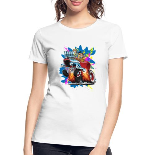 Funny Hot Rod Car Cartoon - Women's Premium Organic T-Shirt