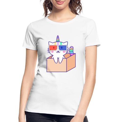 Unicorn cat with 3D glasses doing Vision Therapy! - Women's Premium Organic T-Shirt