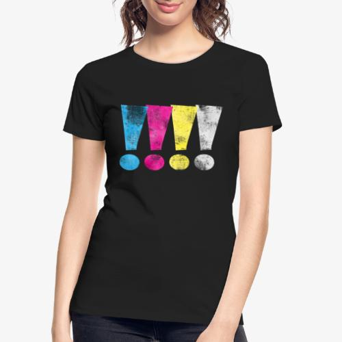 Distressed CMYK(W) Graphic Exclamation Points - Women's Premium Organic T-Shirt