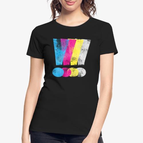 Large Distressed CMYK Exclamation Points - Women's Premium Organic T-Shirt