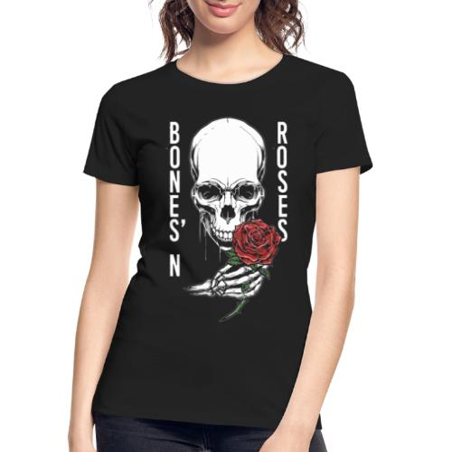 bones roses skull - Women's Premium Organic T-Shirt