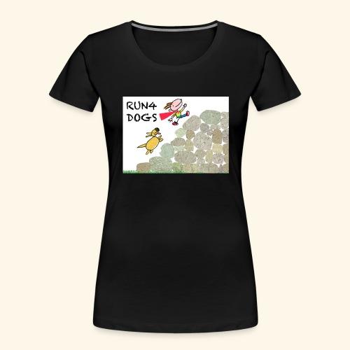 Dog chasing kid - Women's Premium Organic T-Shirt