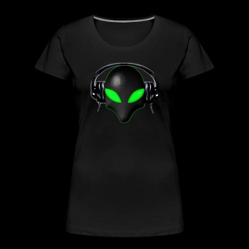 Alien Bug Face Green Eyes in DJ Headphones - Women's Premium Organic T-Shirt