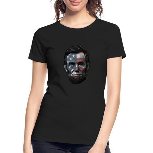 President Abraham Abe Lincoln with USA Flag - Women's Premium Organic T-Shirt