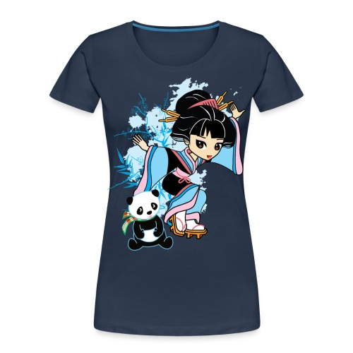 Cartoon Kawaii Geisha Panda Ladies T-shirt by - Women's Premium Organic T-Shirt