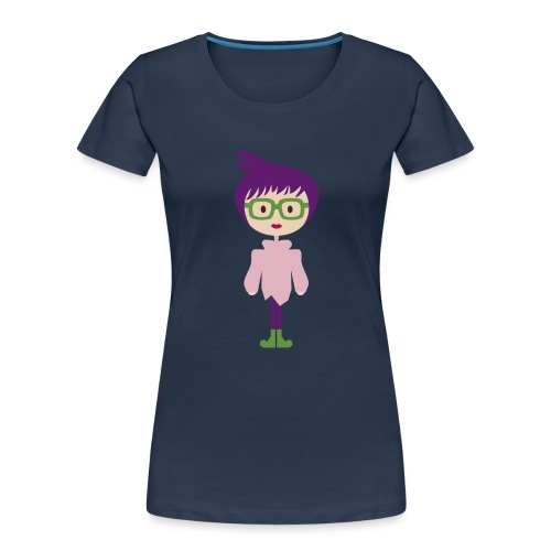 Funky Girl, Purple Hair + Big Eyeglasses w/ Boots - Women's Premium Organic T-Shirt