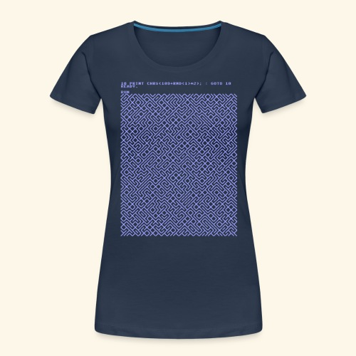 10 PRINT CHR$(205.5 RND(1)); : GOTO 10 - Women's Premium Organic T-Shirt