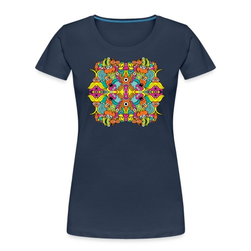 Aquatic monsters in a pattern in doodle art style - Women's Premium Organic T-Shirt