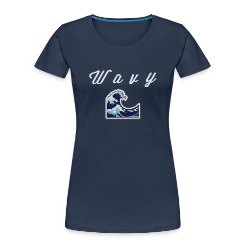 Wavy Abstract Design - Women's Premium Organic T-Shirt