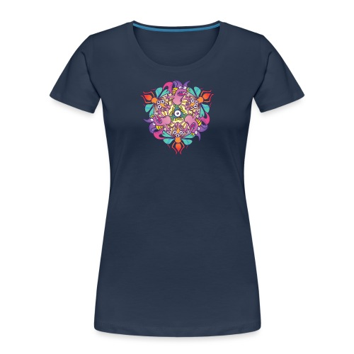 Mosquitoes, bats and fishes in doodle art style - Women's Premium Organic T-Shirt
