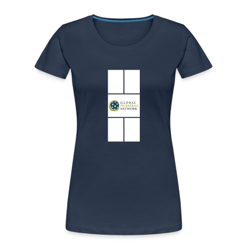Global Pickleball Network Logo on White Court - Women's Premium Organic T-Shirt