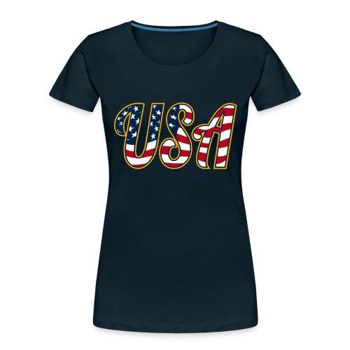USA Patriotic Red White and Blue Stars and Stripes - Women's Premium Organic T-Shirt
