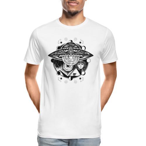 Egyptian Pharaoh Pyramid Alien UFO - Men's Premium Organic T-Shirt