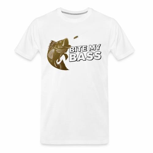Bass Chasing a Lure with saying Bite My Bass - Men's Premium Organic T-Shirt