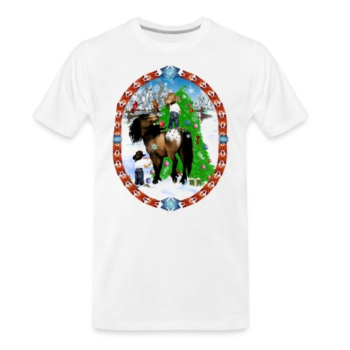 A Horse and A Kid Christmas Oval - Men's Premium Organic T-Shirt
