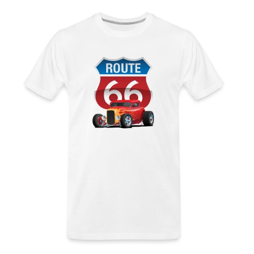 Route 66 Sign with Classic American Red Hotrod - Men's Premium Organic T-Shirt