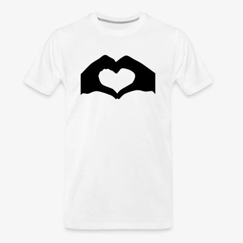 Silhouette Heart Hands | Mousepad - Men's Premium Organic T-Shirt