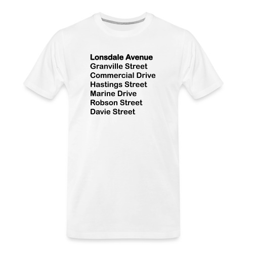 Street Names Black Text - Men's Premium Organic T-Shirt