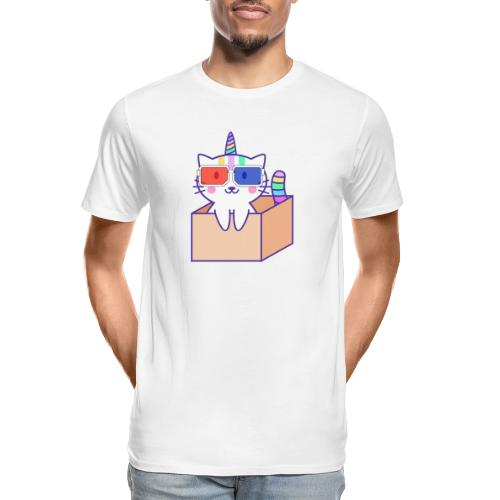 Unicorn cat with 3D glasses doing Vision Therapy! - Men's Premium Organic T-Shirt