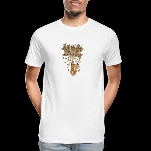 Saxophone Tree of Song Birds - Men's Premium Organic T-Shirt