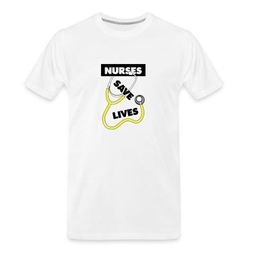 Nurses save lives yellow - Men's Premium Organic T-Shirt