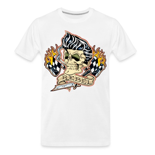 Rockabilly Rebel Tattoo Skull - Men's Premium Organic T-Shirt