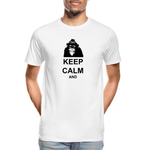 KEEP CALM MONKEY CUSTOM TEXT - Men's Premium Organic T-Shirt