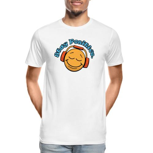 Stay Positive Happy Face with Headphones - Men's Premium Organic T-Shirt
