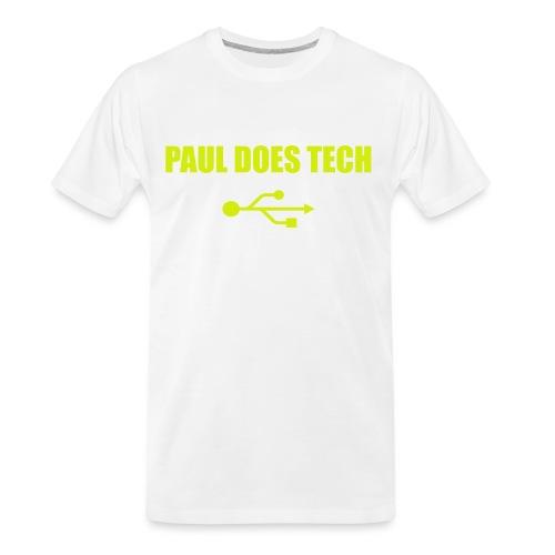 Paul Does Tech Logo Yellow With USB (BS) - Men's Premium Organic T-Shirt