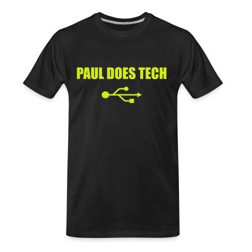 Paul Does Tech Yellow Logo With USB (MERCH) - Men's Premium Organic T-Shirt