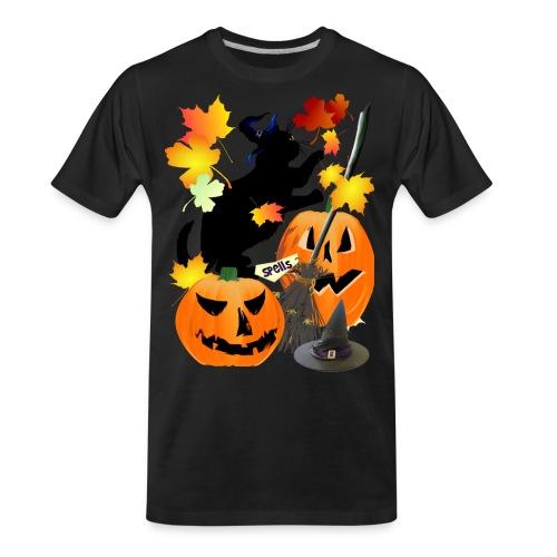 Halloween Black Kitty Batting Pretty Leaves - Men's Premium Organic T-Shirt