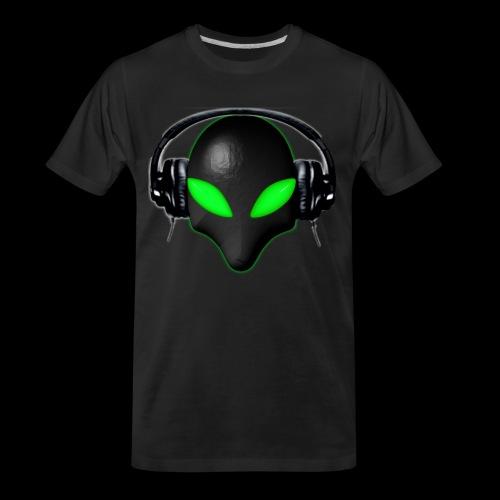 Alien Bug Face Green Eyes in DJ Headphones - Men's Premium Organic T-Shirt