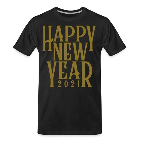 Metallic Gold Print Happy New Year 2021 - Men's Premium Organic T-Shirt