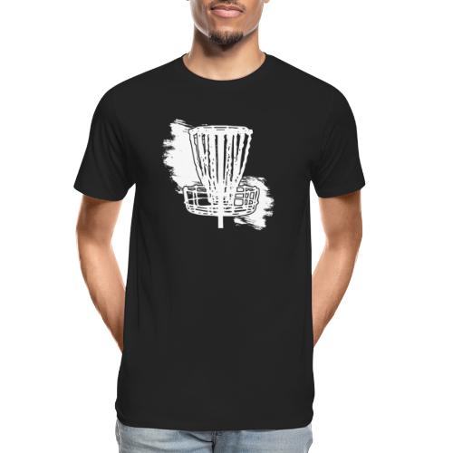 Disc Golf Basket White Print - Men's Premium Organic T-Shirt