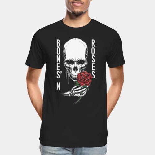 bones roses skull - Men's Premium Organic T-Shirt