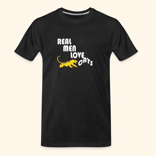 Real Men Love Cats T-Shirt for cat people tee - Men's Premium Organic T-Shirt