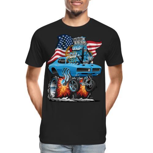 Patriotic Sixties American Muscle Car with Flag - Men's Premium Organic T-Shirt