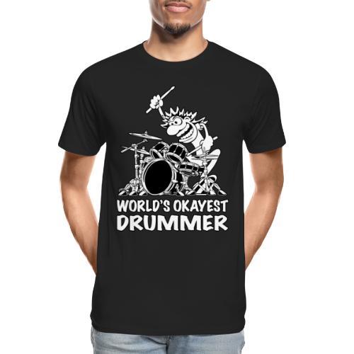 World's Okayest Drummer Cartoon Illustration - Men's Premium Organic T-Shirt