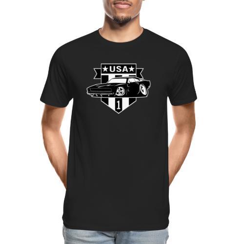 Classic Car with USA 1 Shield - Men's Premium Organic T-Shirt