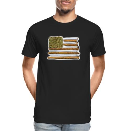 American Flag With Joint - Men's Premium Organic T-Shirt