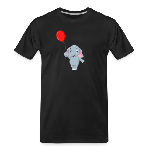 Baby Elephant Holding A Balloon - Men's Premium Organic T-Shirt
