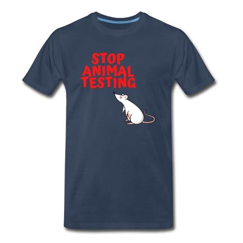 STOP ANIMAL TESTING - Defenseless Laboratory Mouse - Men's Premium Organic T-Shirt